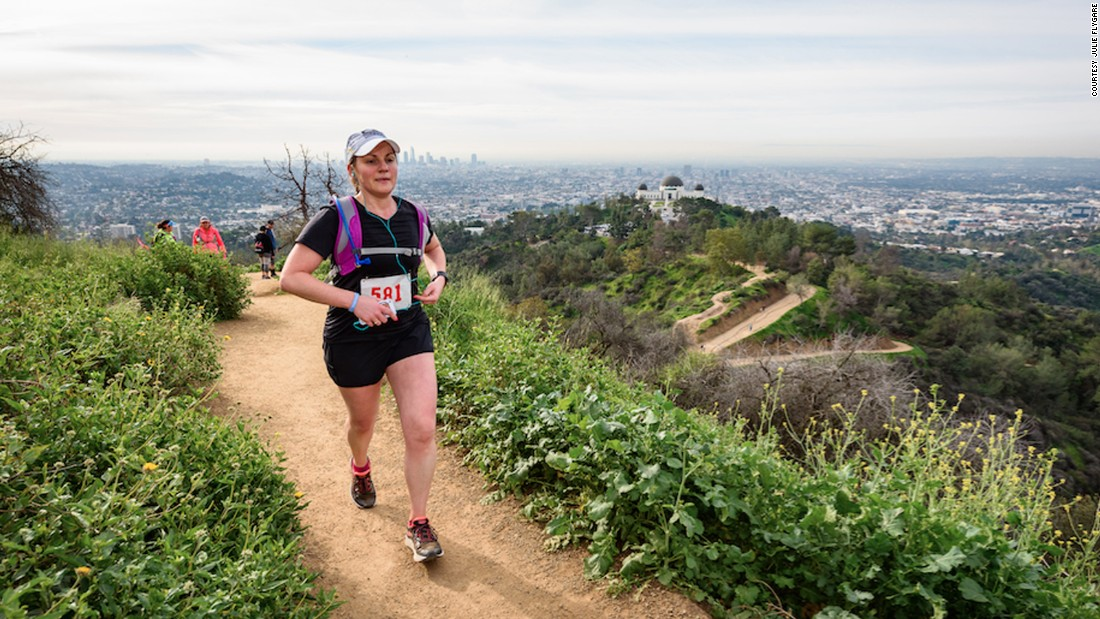 Flygare competed in the 2017 Griffith Park Trail Marathon in Los Angeles March.