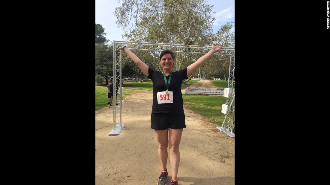 Flygare celebrated after crossing the finish line. She completed the Griffith Park Trail Marathon in 5 hours and 48 minutes.