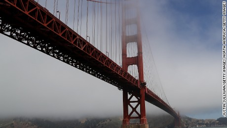 SAN FRANCISCO, CA - JUNE 28:  A view of the Golden Gate Bridge on June 28, 2016 in San Francisco, California. A new video that allegedly supports ISIL has emerged on the internet shows San Francisco's iconic Golden Gate Bridge as well as the office building at 555 California.  (Photo by Justin Sullivan/Getty Images)