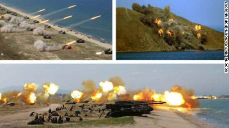North Korean state media released pictures purporting to show live-fire drills in Wonsan, North Korea, to mark the 85th anniversary of the Korean People's Army's founding.