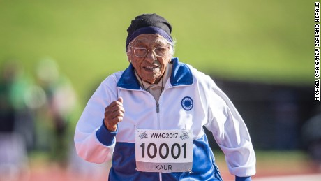 Centenarian Man Kaur, 101, competes in the 100m race at the 2017 World Masters Games in Auckland.