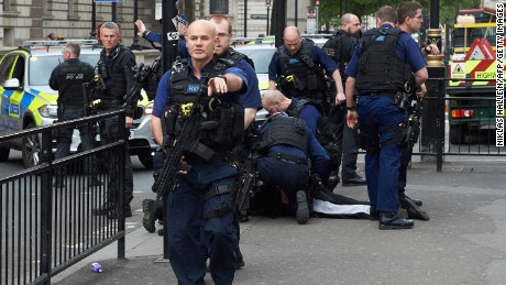 A man is arrested in central London on Thursday on suspicion of terror offenses.