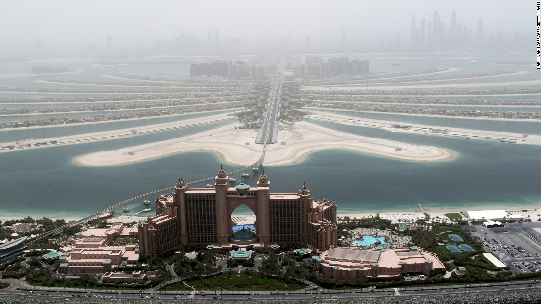 A view of Atlantis, the luxury hotel located at the top of the Palm Jumeirah islands.