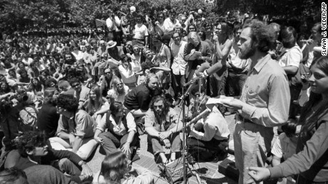 "Mario Savio, right, speaks at a ""Peoples Park"" free-speech rally at UC Berkeley in June 1969."