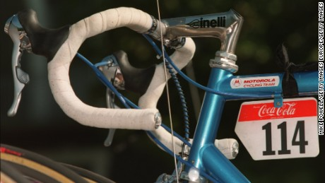 The bike ridden by Fabio Casartelli when he crashed and died during the 1995 Tour de France is on display in the chapel.