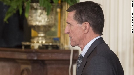 "National Security Advisor Michael Flynn arrives for a press conference between US President Donald Trump and Canadian Prime Minister Justin Trudeau in the East Room of the White House in Washington, DC, February 13, 2017. The White House announced February 13, 2017 that Michael Flynn has resigned as President Donald Trump's national security advisor, amid escalating controversy over his contacts with Moscow. In his formal resignation letter, Flynn acknowledged that in the period leading up to Trump's inauguration: ""I inadvertently briefed the vice president-elect and others with incomplete information regarding my phone calls with the Russian ambassador."" / AFP / SAUL LOEB        (Photo credit should read SAUL LOEB/AFP/Getty Images)"