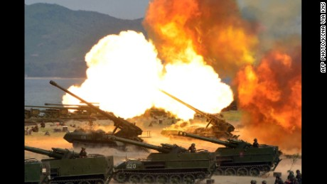 "TOPSHOT - This undated picture released by North Korea's official Korean Central News Agency (KCNA) on April 26, 2017 shows the combined fire demonstration of the services of the Korean People's Army in celebration of its 85th founding anniversary at the airport of eastern front. / AFP PHOTO / KCNA VIA KNS / STR / South Korea OUT / REPUBLIC OF KOREA OUT   ---EDITORS NOTE--- RESTRICTED TO EDITORIAL USE - MANDATORY CREDIT ""AFP PHOTO/KCNA VIA KNS"" - NO MARKETING NO ADVERTISING CAMPAIGNS - DISTRIBUTED AS A SERVICE TO CLIENTS