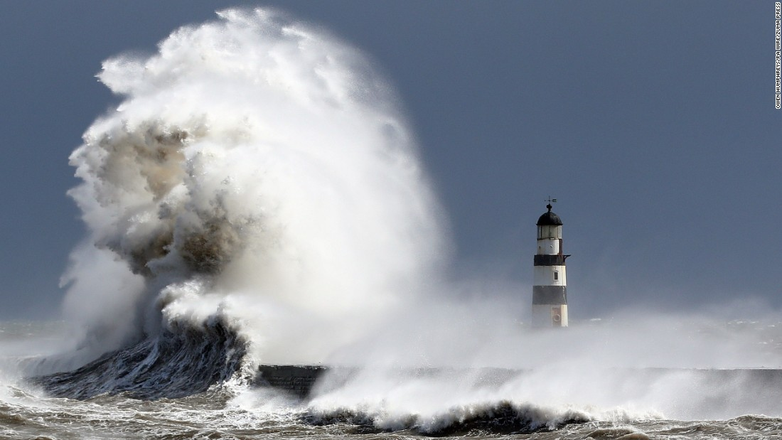 Waves crash into a seawall in Seaham, Scotland, on Tuesday, April 25.