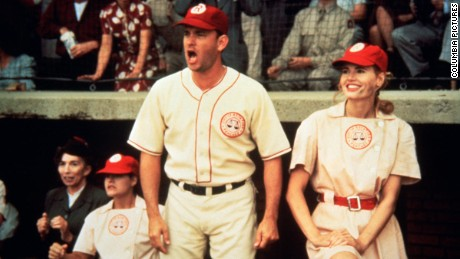 "Geena Davis in the 1992 film ""A League of Their Own"" alongside Tom Hanks."
