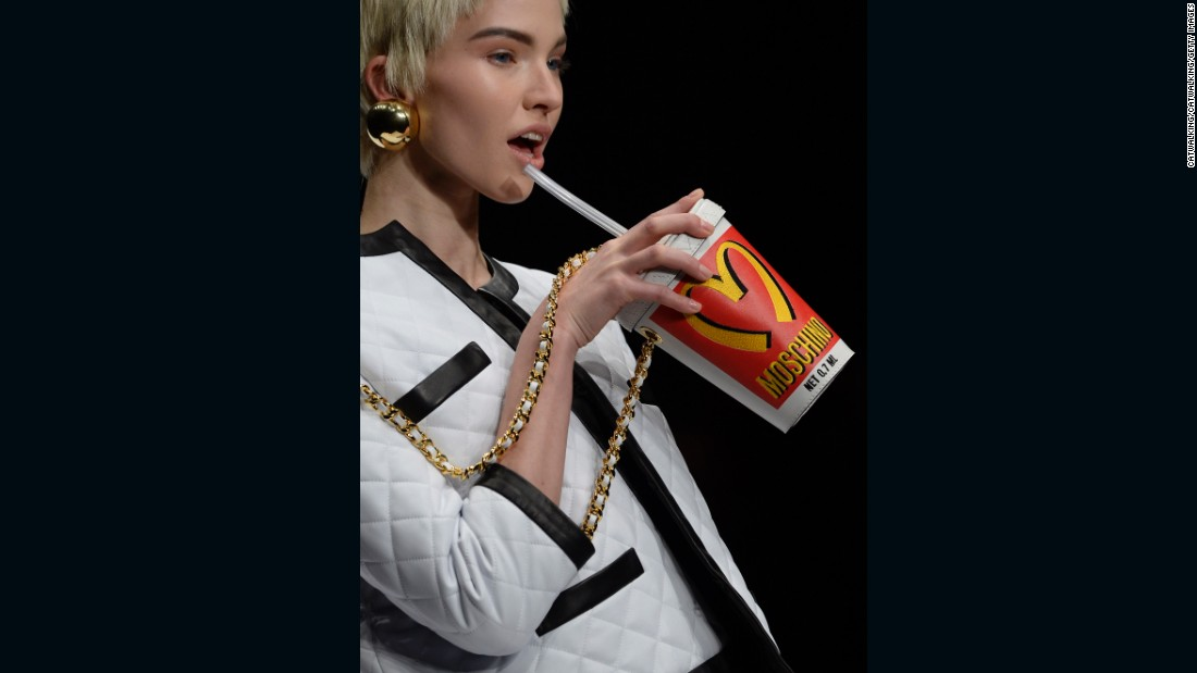 At Moschino, designer Jeremy Scott is known to take influence from pop mainstays like McDonald's (as seen here at his Autumn-Winter 2014 show) and Windex.