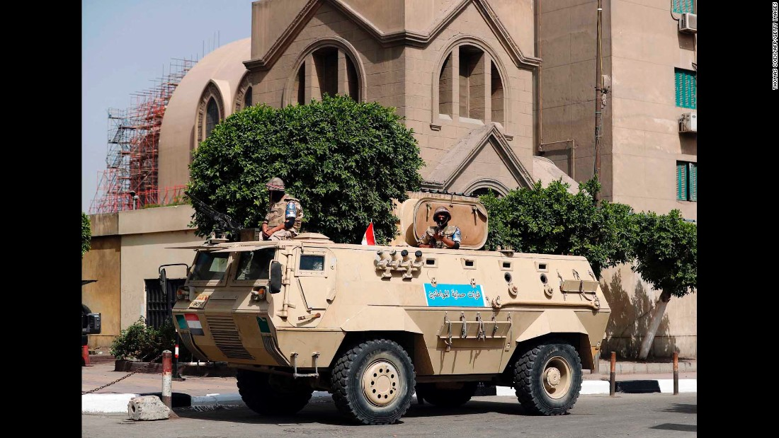 An Egyptian army vehicle is stationed outside of St. Mark's Cathedral in central Cairo. The Pope's visit comes nearly three weeks after the Palm Sunday bombing of two Coptic churches, brazen strikes that left at least 45 people dead.
