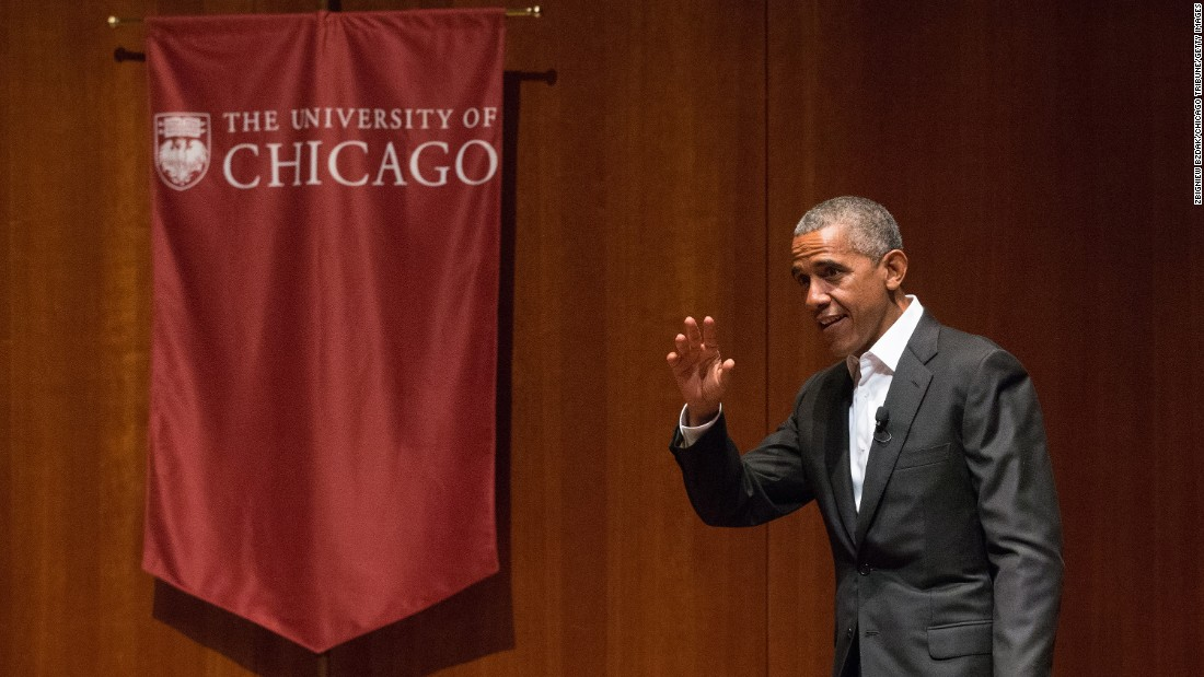 "Former President Barack Obama attends a forum at the University of Chicago on Monday, April 24. It was his first public appearance since leaving the White House three months ago. <a href=""http://www.cnn.com/2017/04/24/politics/obama-first-public-speaking/"" target=""_blank"">See what Obama said</a>"