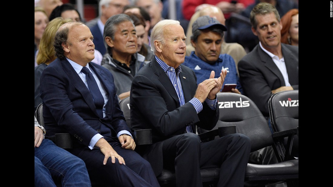 Former Vice President Joe Biden watches an NBA playoff game in Washington on Wednesday, April 26.