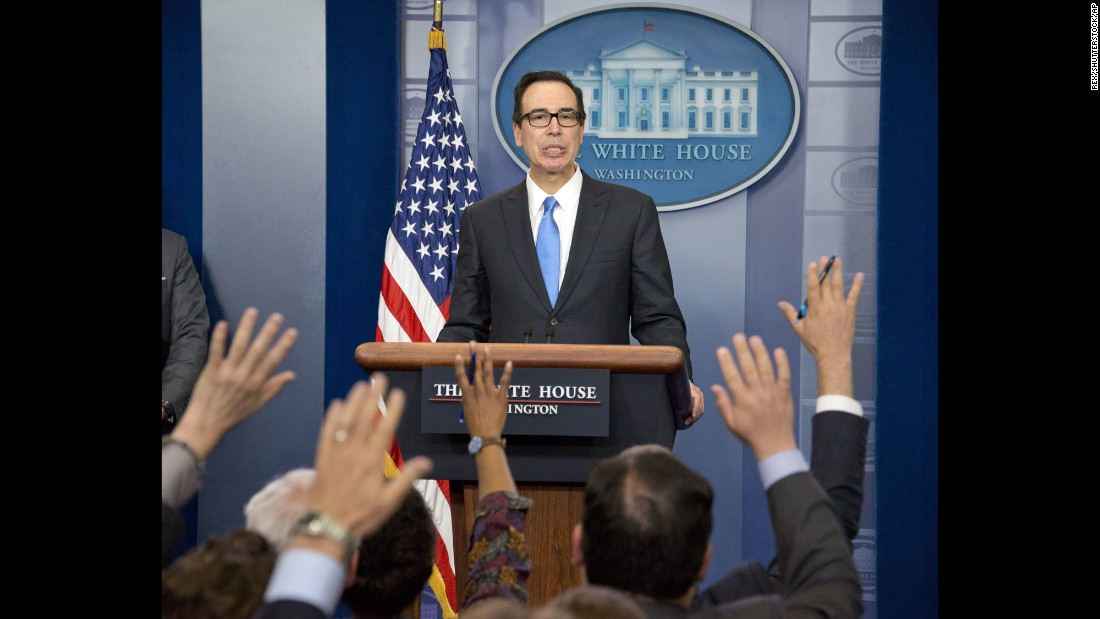 "Steven Mnuchin, the secretary of the treasury, briefs White House reporters about budget negotiations on Monday, April 24. He said President Trump's <a href=""http://money.cnn.com/2017/04/24/news/economy/trump-tax-cuts-growth/"" target=""_blank"">plan to cut taxes</a> ""will pay for itself with economic growth."""
