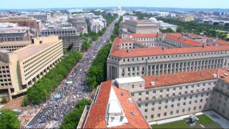 Protesters march away from the US Capitol on Saturday in Washington.
