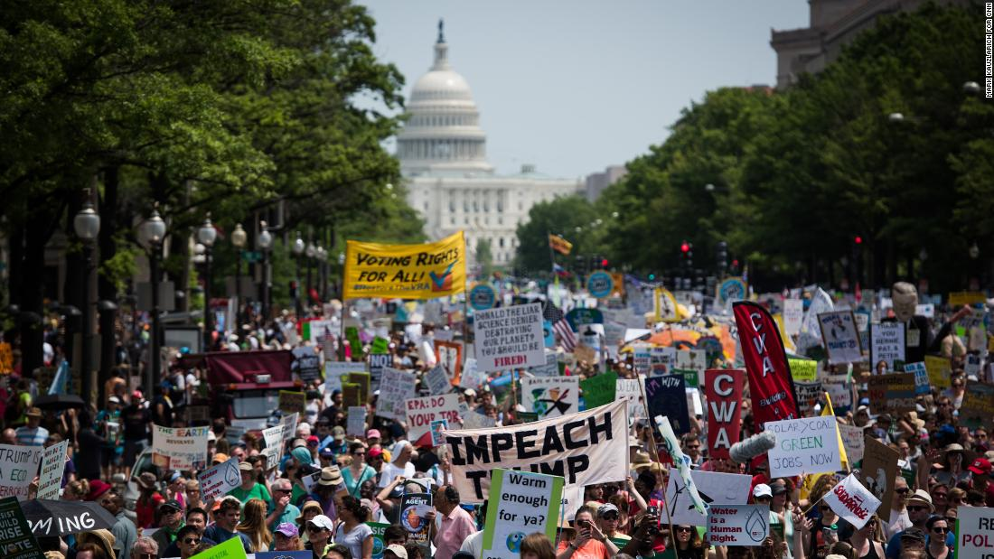 "The People's Climate March takes place in Washington on Saturday, April 29. The march, which coincides with President Donald Trump's 100th day in office, <a href=""http://www.cnn.com/2017/04/29/us/climate-change-march/"" target=""_blank"">is a protest</a> of the President's environmental policies. Hundreds of sister marches were planned across the United States and around the world."