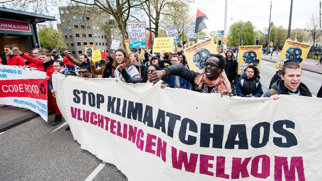 People protest in Amsterdam.
