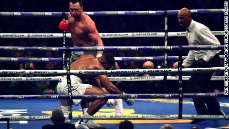 Joshua was put on the canvas by Klitschko in round six -- the first time the Briton had been down in his pro career.