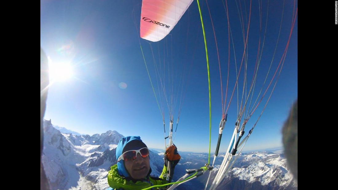 After climbing the Aiguille Verte, a mountain in the French Alps, Steck prepares to parachute down in December 2016.