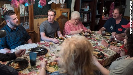 Mark Zuckerberg surprises family at dinner