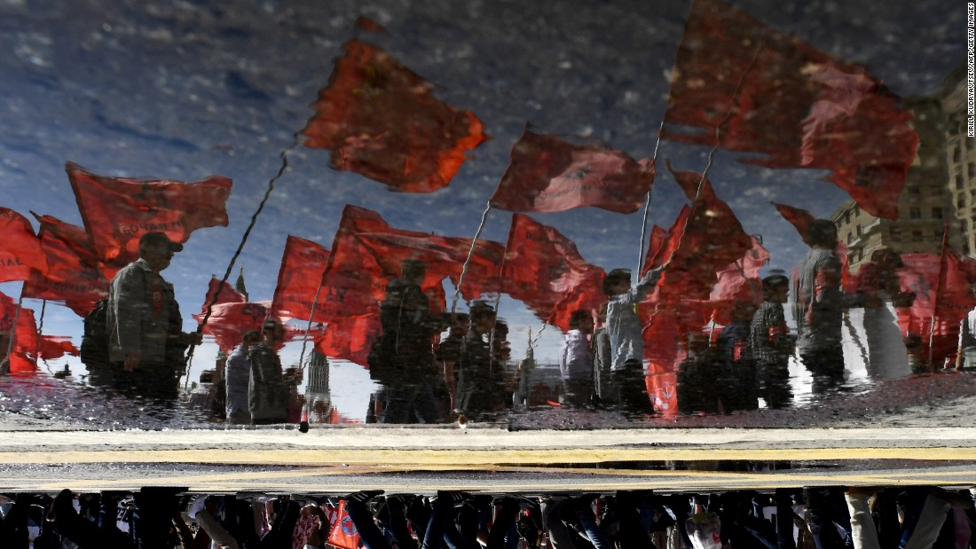 People take part in a May Day rally in Moscow.