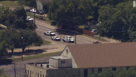 An aerial view of authorities responding to an active shooter scene in Dallas.