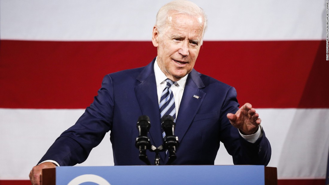 "Biden speaks at a fundraising dinner for New Hampshire Democrats in April 2017. Biden, who advisers said was nowhere near making a decision on whether to run for president in 2020, <a href=""http://www.cnn.com/2017/04/30/politics/joe-biden-new-hampshire-2020/index.html"" target=""_blank"">addressed the question head-on.</a> ""Guys, I'm not running!"" he said with a smile, as the audience in the hotel ballroom booed in response."