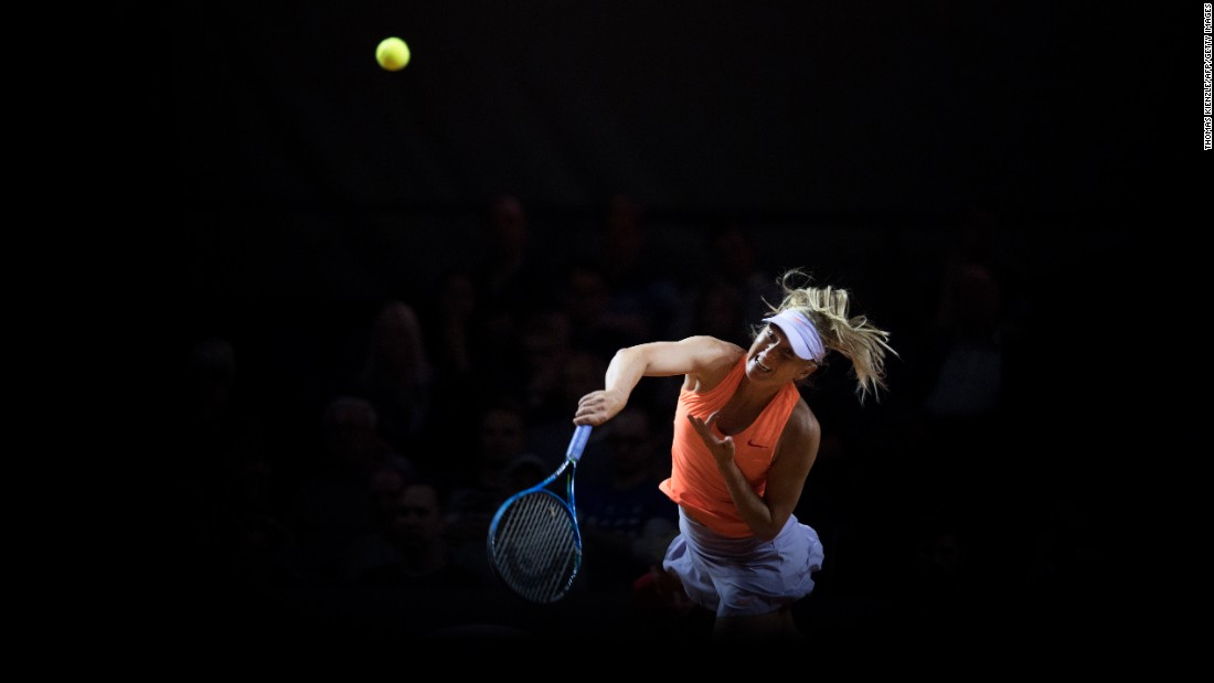 "Maria Sharapova serves the ball during a match in Stuttgart, Germany, on Thursday, April 27. She was playing in <a href=""http://www.cnn.com/2017/04/26/tennis/maria-sharapova-returns/"" target=""_blank"">her first tournament</a> since serving a 15-month doping ban."