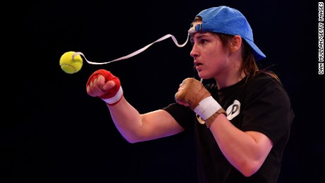 Taylor takes part in a training session ahead of her fight against Nina Meinke.