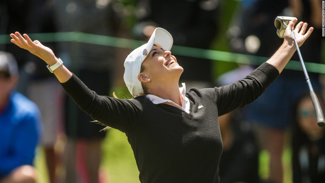 Cristie Kerr reacts after making a birdie putt during the final round of the LPGA Texas Shootout on Sunday, April 30.