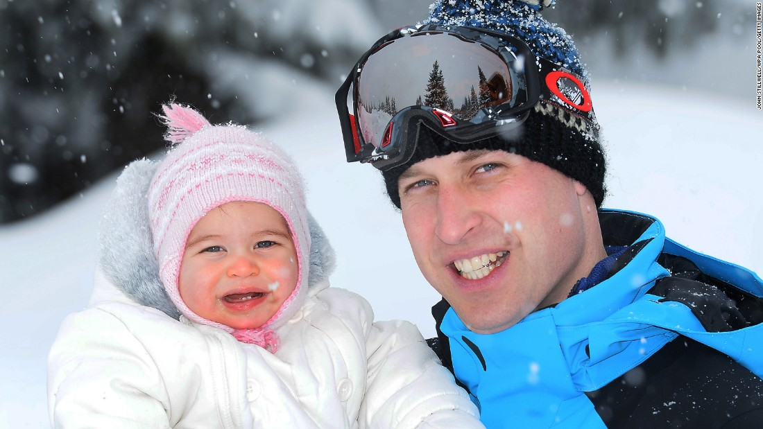 Charlotte and her dad are photographed during a trip to the French Alps in March 2016.