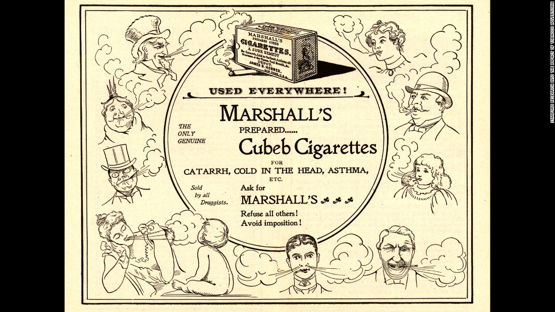 "Some cigarette companies were bold enough to state health benefits on their ads. Here, Marshall's Cubeb cigarettes claim to be a ""sure remedy"" for asthma, nasal congestion and the common cold."