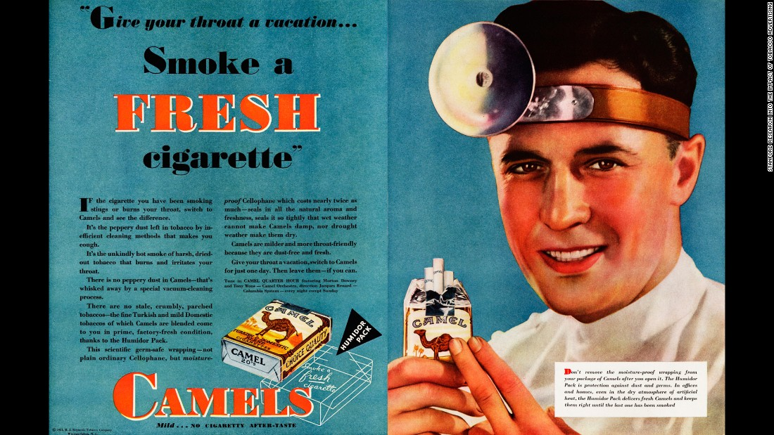 "Tobacco advertisers often used the depiction of an ear, nose and throat doctor to promote cigarettes. ""People in those days didn't know about lung cancer, but they knew that it was rough on your throat,"" said Dr. Robert Jackler, founder of the <a href=""http://tobacco.stanford.edu/tobacco_main/index.php"" target=""_blank"">research group SRITA, or Stanford Research into the Impact of Tobacco Advertising</a>, which documents the history of tobacco advertising. ""They knew smoking irritates and makes you cough and gag. So having a throat doctor tell you it's OK to smoke was key to success in tobacco advertising and sales."""