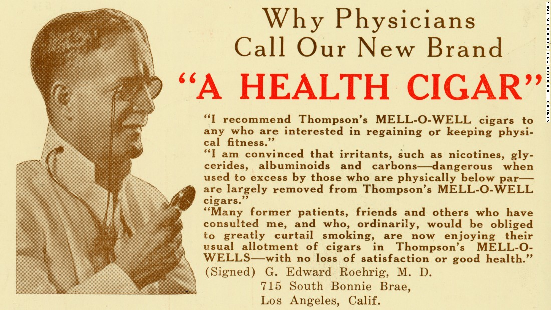 "This ad was a rare exception. Dr. G. Edward Roehrig was indeed a real doctor, practicing initially in Chicago and later in Los Angeles. ""Ironically, he died of lung cancer,"" Jackler said. <br />"