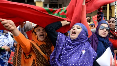 Moroccan women shout slogans during a protest calling for gender equality as they mark International women's day in 2015.
