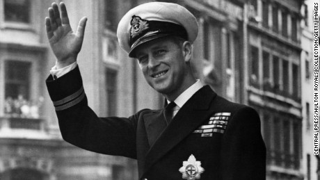 Prince Philip, Duke Of Edinburgh, waving through the open roof of a car on May 1948.
