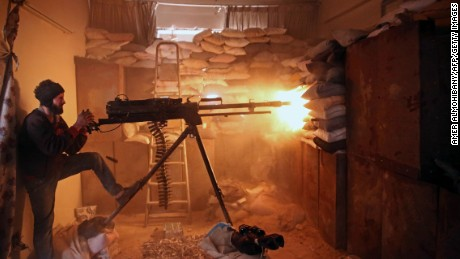 An opposition fighter fires a  machine gun in Jobar, a rebel-held district outside Damascus, in March.