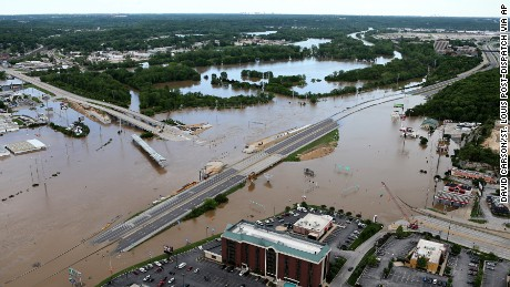 Interstate 44 is covered by floodwater in both directions at the intersection of Highway 141 in St. Louis County, Missouri.