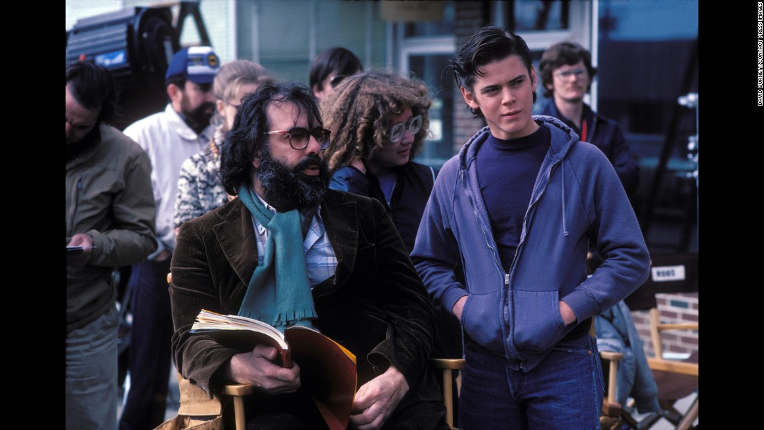 "Howell, who played the lead role of Ponyboy Curtis, confers with director Francis Ford Coppola. ""The chance to work with Francis Coppola was a big deal for anybody,"" Burnett said."