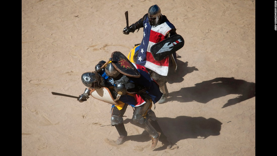"Fighters from the United States and Ukraine compete Monday, May 1, during the full-contact ""Battle of the Nations"" event in Barcelona, Spain. It is also known as the World Championship in Historical Medieval Battle."