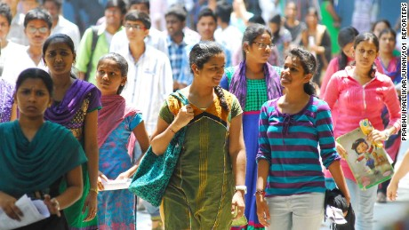 Students coming out an examination center with joyful mood after appearing for the IIT-JEE 2014 main exam at Sanathnagar in Hyderabad on 101Reporters