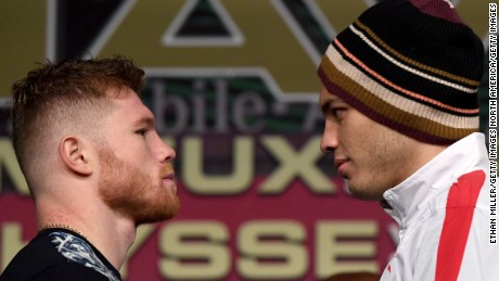LAS VEGAS, NV - MAY 03:  Boxers Canelo Alvarez (L) and Julio Cesar Chavez Jr. face off during a news conference at the KA Theatre at MGM Grand Hotel & Casino on May 3, 2017 in Las Vegas, Nevada. The two will meet in a 164.5-pound catch weight bout on May 6 at T-Mobile Arena in Las Vegas.  (Photo by Ethan Miller/Getty Images)