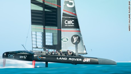 "The modern America's Cup boats ""fly"" out of the water on hydrofoils."