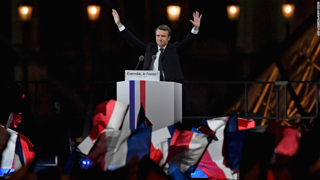 Emmanuel Macron addresses supporters at The Louvre on May 7 after winning the French Presidential Election.