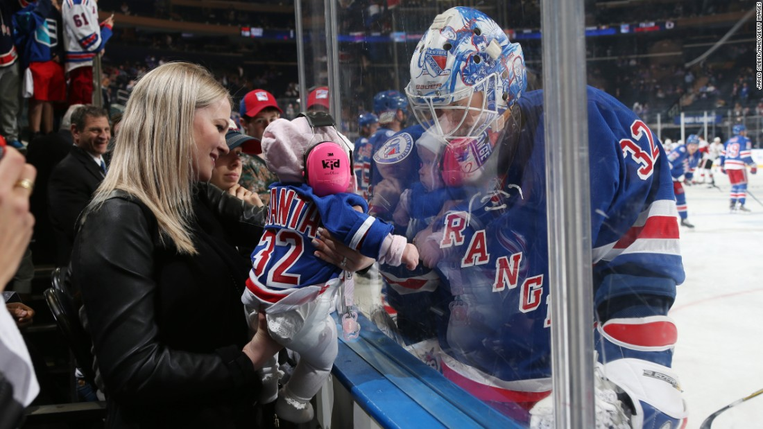 Antti Raanta, the backup goalie for the New York Rangers, greets his young daughter during pregame warm-ups on Thursday, May 4.