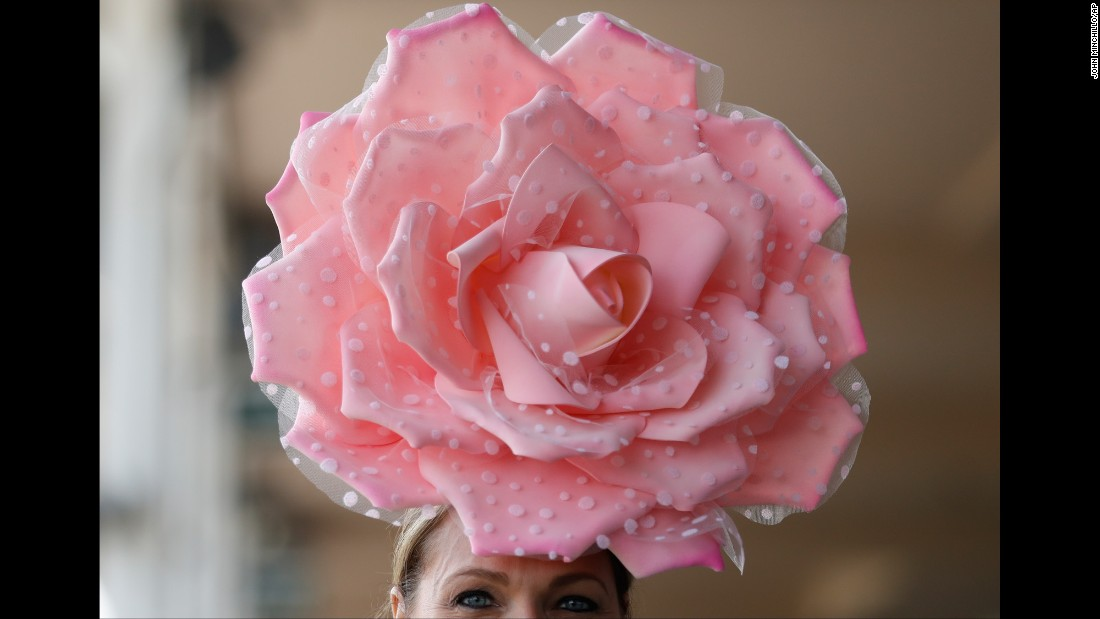 "A woman wears a fancy hat before the Kentucky Derby on Saturday, May 7. <a href=""http://www.cnn.com/2017/05/06/style/gallery/kentucky-derby-hats-2017/index.html"" target=""_blank"">See more of this year's Derby hats</a>"