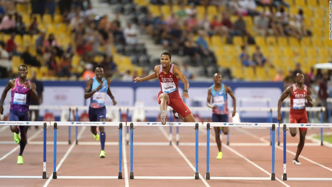 Qatar's Abderrahman Samba leads the pack on his way to winning the 400-meter hurdles at the Diamond League meet in Doha, Qatar, on Friday, May 5.
