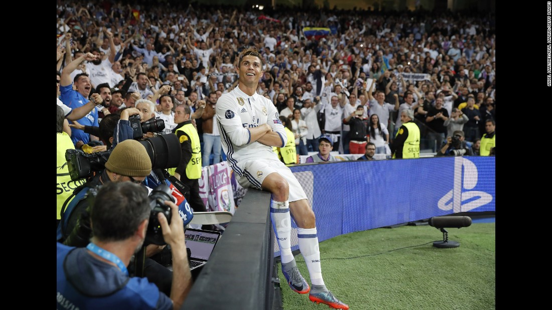 Real Madrid star Cristiano Ronaldo celebrates his second goal in the Champions League semifinal against Atletico Madrid on Tuesday, May 2. Ronaldo finished with a hat trick in the 3-0 victory.