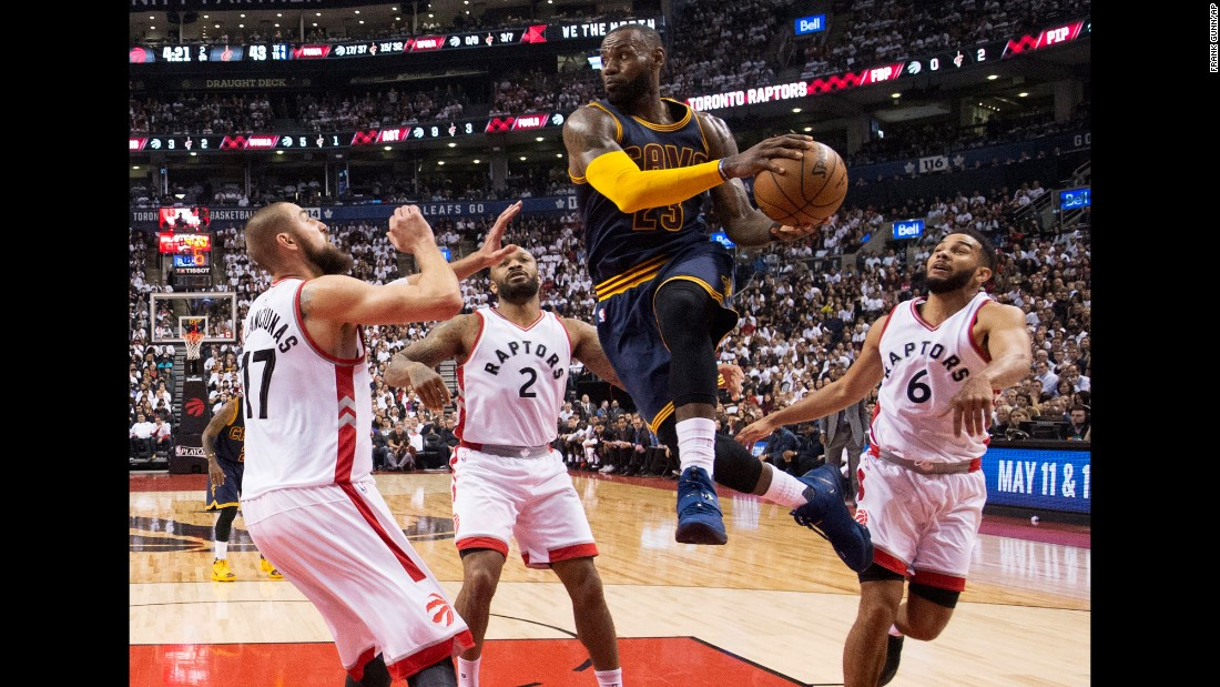 Cleveland star LeBron James drives to the basket during an NBA playoff game in Toronto on Friday, May 5. James and the Cavaliers swept the Raptors and are a perfect 8-0 in this year's playoffs.