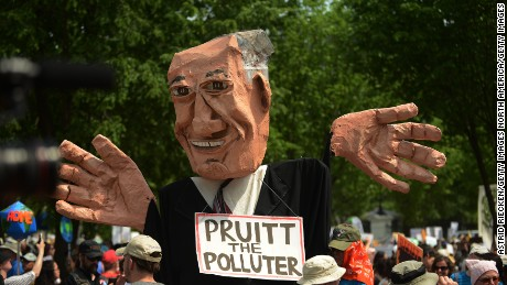 EPA Administrator Scott Pruitt was one target of a climate march in Washington on April 29.